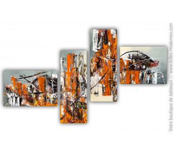 Tableau quadriptyque orange : Réalité