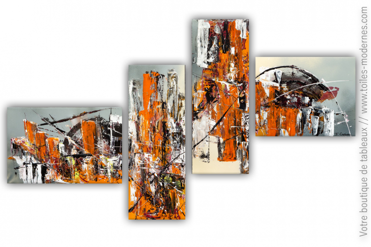 Déco orange et gris avec des toiles modernes : Réalité