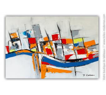 Tableau coloré abstrait : Le long du fleuve