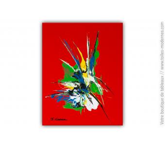 Tableau rouge contemporain : Fleur sauvage