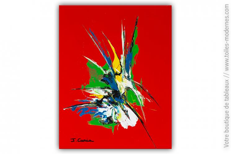 Peinture sur toile rouge design : Fleur sauvage