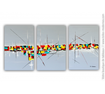 Grand triptyque gris contemporain : Nostalgie d'une vie colorée