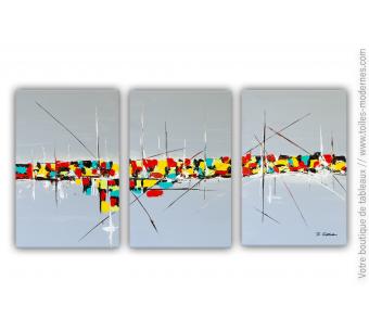 Tableau triptyque gris : Nostalgie d'une vie colorée