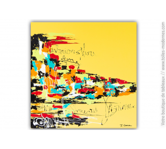 Grande peinture sur toile jaune moderne : Le monde du graffeur