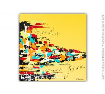 Tableau jaune contemporain : Le monde du graffeur