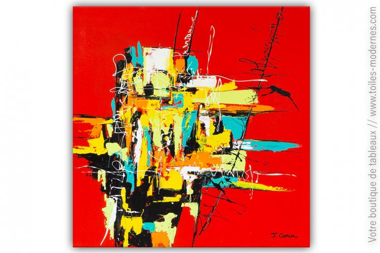Grande toile rouge moderne : Graffiti