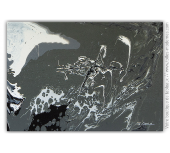 Tableau gris abstrait : Création marine