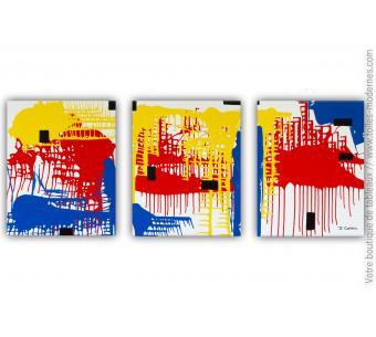 Triptyque abstrait coloré : Architecture moderne