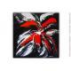 Peinture sur toile noire et rouge moderne : Fleur secrète