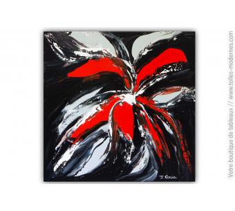 Tableau noir fleur rouge : Fleur secrète