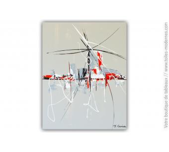 Peinture grise sur toile contemporaine : Hantise