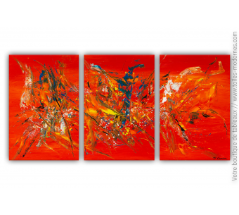 Triptyque rouge orange modere : Entre le ciel et l'enfer