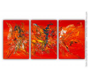Triptyque rouge orange modere : Entre le ciel et l'enfer