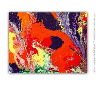 Tableau rouge violet vert jaune : Pasiphaé