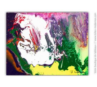 déco colorée avec peinture : violet vert et jaune création Thébé