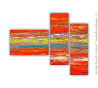 Tableau rouge jaune bleu : Une mer d'émotions