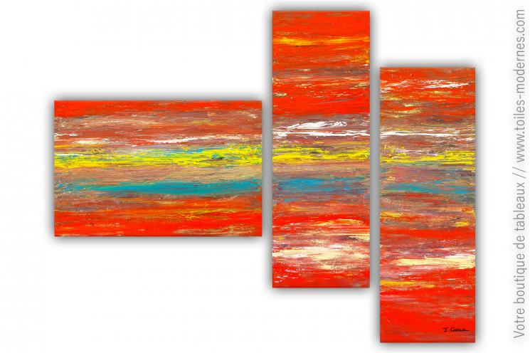 Tableau design rouge jaune bleu : Une mer d'émotions