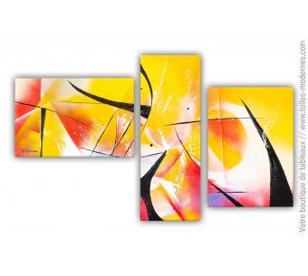 Déco orange jaune rouge avec un triptyque moderne : Coup de chaleur
