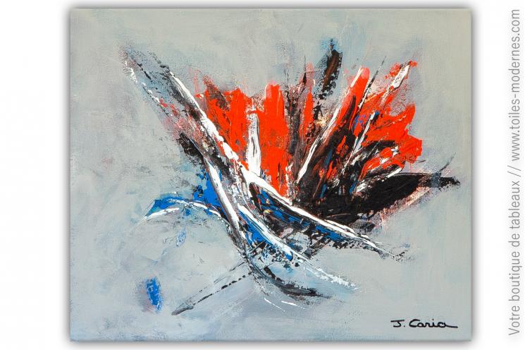 Déco gris et rouge avec un tableau contemporain : Au coin du feu