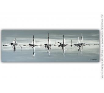 Déco moderne bord de mer avec tableau gris : A la découverte du paradis