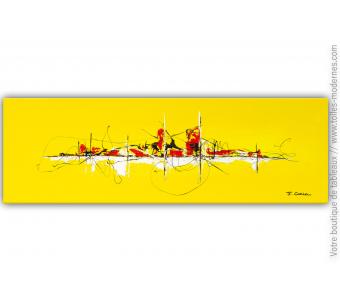 Objet déco jaune tableau contemporain design : Une vie au soleil