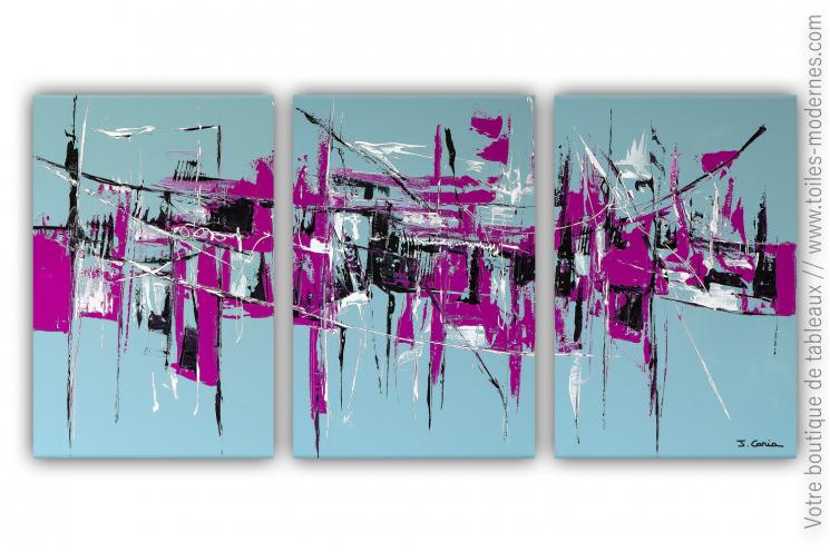 Déco rose fuchsia et gris bleu avec un triptyque moderne : Un monde poétique