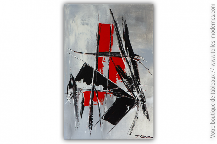 Déco rouge et noir peinture sur toile abstraite : Vertige