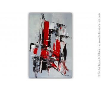 Déco murale gris rouge et noir avec une toile moderne : Un monde fou