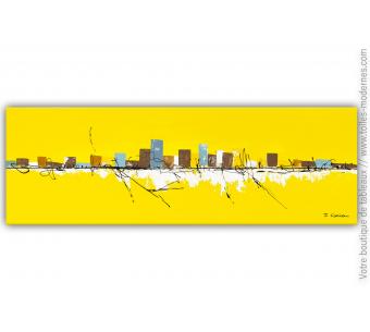 Grande toile jaune moderne : Canicule extrême