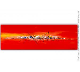 Peinture sur toile rouge : En pleine action