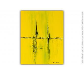 Peinture sur toile jaune : Echange chaleureux