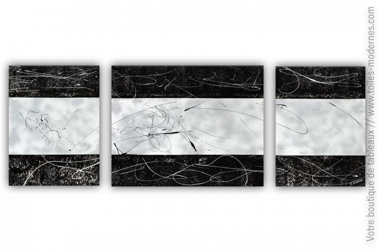 Accessoire déco gris métallisé et noir - Triptyque design : Nuit magique