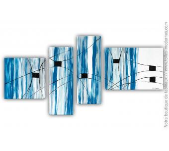 Intérieur bleu et blanc avec un grand tableau contemporain : La planète bleue