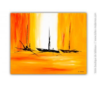 Décoration murale orange avec un grand tableau : Pétillante ballade