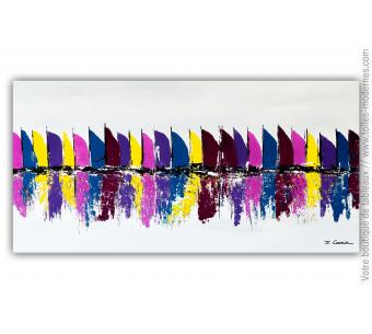 Tableau gris violet : Les voiliers colorés