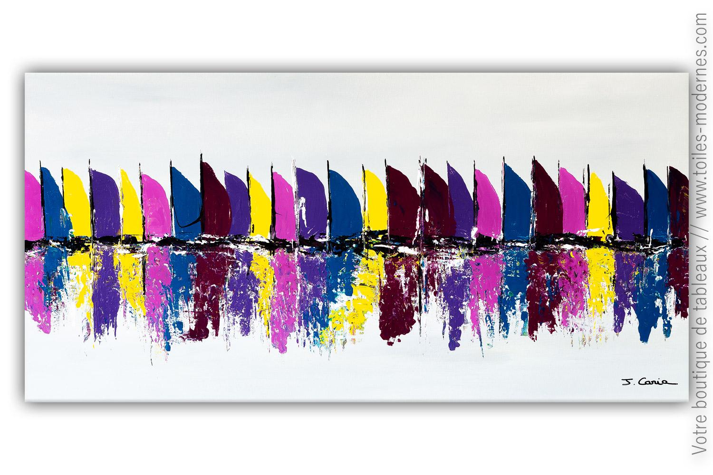 Décoration Mauve Et Gris tableau gris violet : les voiliers colorés