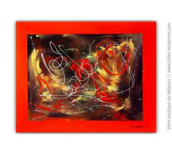 Peinture rouge sur toile moderne : Motion