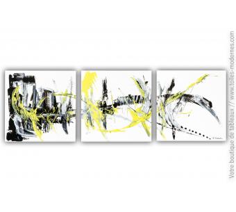 Tableau triptyque blanc : Naissance d'un pont