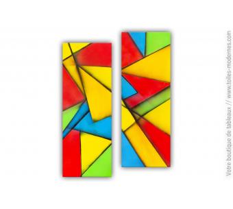 Tableau diptyque coloré : Composition décorative