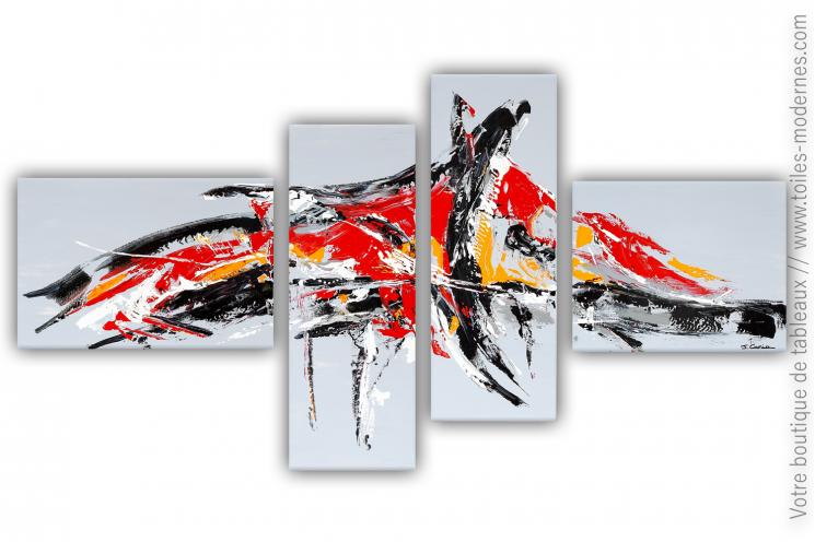 Déco grise avec un grand tableau quadriptyque : Invasion