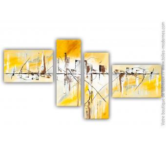 Déco marron et orange avec un grand tableau quadriptyque  : Un matin au réveil