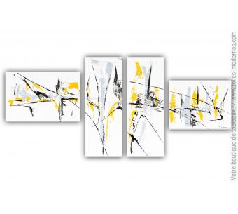 Tableau quadriptyque blanc : Une vie désinvolte