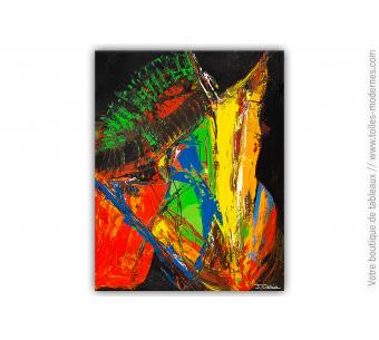 Tableau abstrait noir et coloré : Transformation intérieure