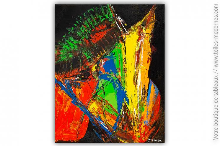 Déco noire et colorée très chic avec le tableau Tranformation intérieure