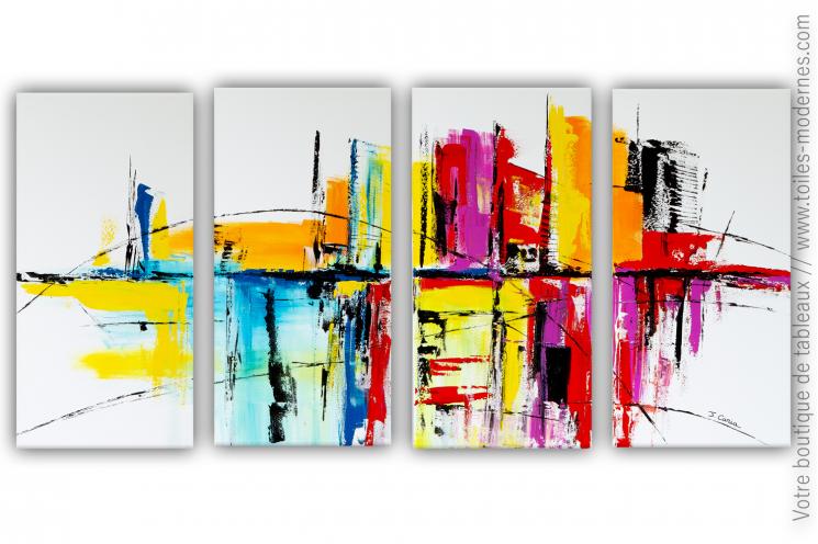 Tableau multi-panneaux XXL coloré : Un conte fantastique