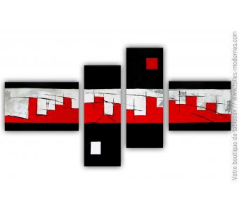 Tableau XXL rouge et noir  : La grande muraille