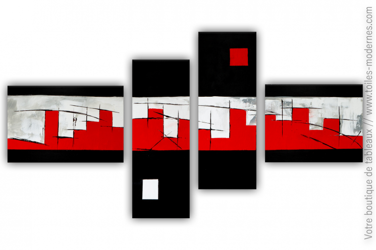 Tableau XXL multi-panneaux design noir et rouge  : La grande muraille
