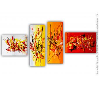 Tableau XXL rouge orange et jaune multi-panneaux : Un avenir coloré