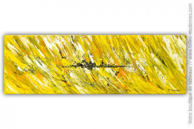Tableau jaune moderne esprit champêtre : Village de campagne