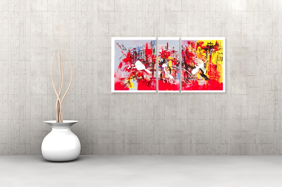 triptyque contemporain festive evening rouge gris rectangle. Black Bedroom Furniture Sets. Home Design Ideas